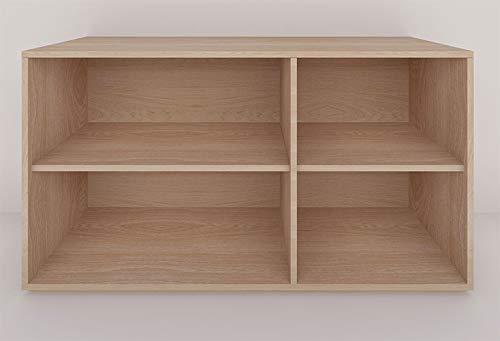 H-Boxx 0.0.2 DER. Mueble tipo credenza o trinchador configurable y apilable. Fabricado con chapa de madera sustentable. Diseño minimalista sin tiradores. Con un entrepaño largo (izquierda) y un entrepaño corto (derecha). Ideal para organizar y almacenar objetos en sala de estar, recámara, comedor y TV. Se envía totalmente armado y listo para su instalación. Entra en la tienda Mobilco para recibir asesoría en la configuración de tu sistema.