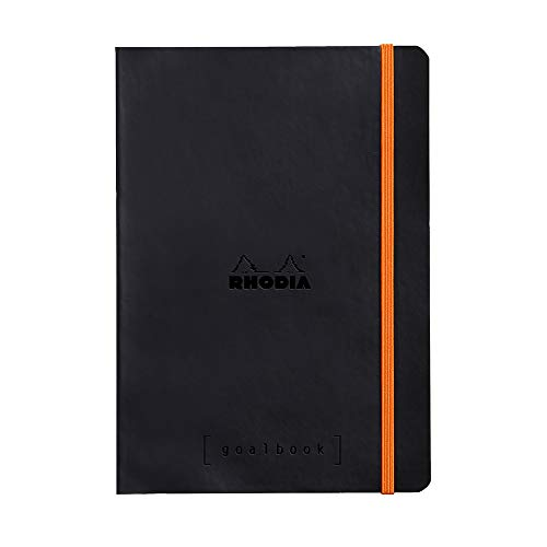 Rhodia 117742C Notizheft Goalbook (DIN A5, 14,8 x 21 cm, Dot, praktisch und trendige, mit weichem Deckel, 90g, elfenbeinfarbigem Papier, 120 Blatt, Gummizug, Lesezeichen) 1 Stück, Schwarz