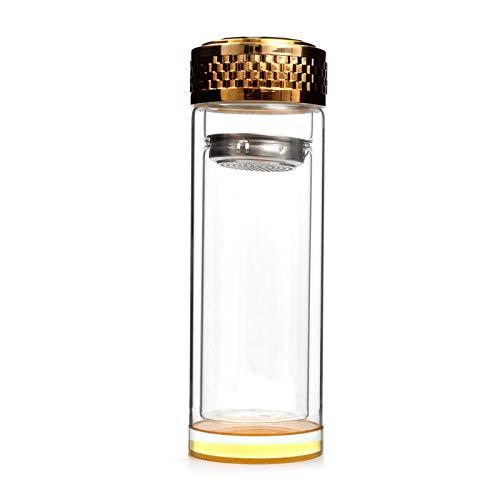 Botella de Agua Termo con Filtro, Termo para Té, de Vidrio, 400ml, Reutilizable, Impermeable, Ecológico, Infusiones, sin BPA, Deportiva, Oficina, Gimnasio