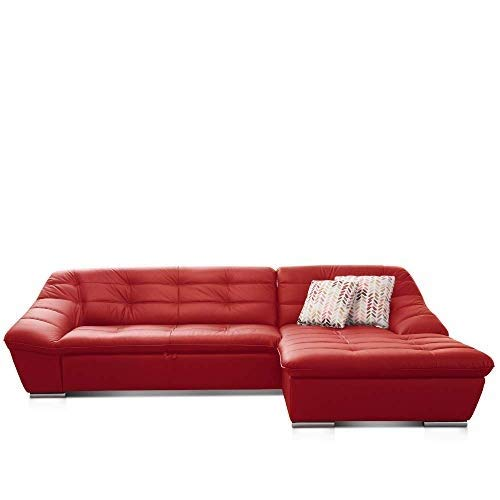 Cavadore Leder-Sofa Lucas / Schlafsofa in Echtleder mit Steppung / Longchair rechts / Inkl. Bettfunktion und Bettkasten / Größe: 287 x 81 x 165 (BxHxT) / Leder rot