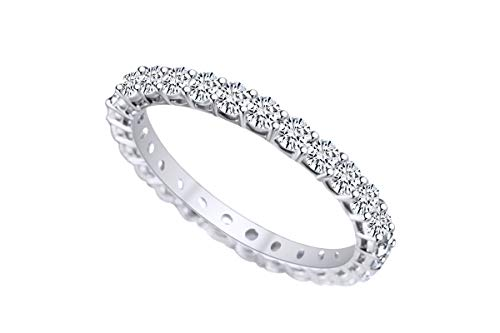 AFFY - Fede Nuziale Full Eternity in Argento Sterling Placcato Oro 18 kt con Zirconia cubica Bianca e Argento Placcato Oro Bianco 18 ct, 17,5, Colore: Bianco, cod. MNo-UK-CMR-MT280120534-WG-Q 1/2