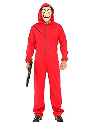 KRAZY TOYS Disfraz de La casa de Papel Ladrn - Disfraces Carnaval Halloween Adulto. Incluye un Traje con Capucha y una Dali mscara (XXL)