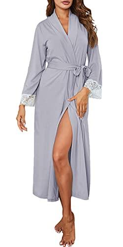 Nanxson Femme Peignoir de Bain Manche Longue Robe de Chambre Sexy Nuisette Longue Pyjama (S, Gris)