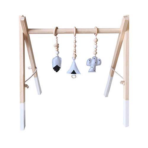 H.B.YE Portique d'activités Centre d'activités Jouet en Bois Jeux de Gymnastique société Gym de Jeu pour bébé + 3Pcs pendentifs Taille 60X43X40cm (B# Blanc)