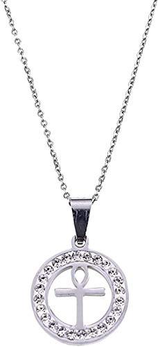 WLHLFL Collar de Acero Inoxidable Color Plata Colgante de Cruz egipcia para Mujer niña jeroglíficos egipcios joyería Redonda Colgante Collar niñas niños Regalo