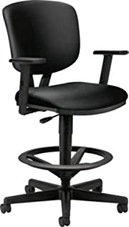 HON HON5705ASB11 Volt Task Stool   Extended Height, Footring   Adjustable Arms   Black SofThread Leather, Upholstered Back,