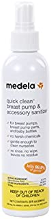 Medela Quick Clean Breast Pump and Accessory Sanitizer Spray, 8 fluid ounce bottle, Eliminates 99.9% of Bacteria and Viruses with a Safe, No-Rinse Solution