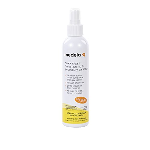 Learn More About Medela Quick Clean Breast Pump and Accessory Sanitizer Spray, Safe No Rinse Breastp...