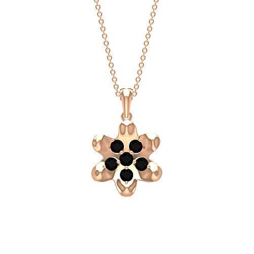 Rosec Jewels 14 quilates oro rosa black Diamond Round H-I Diamond