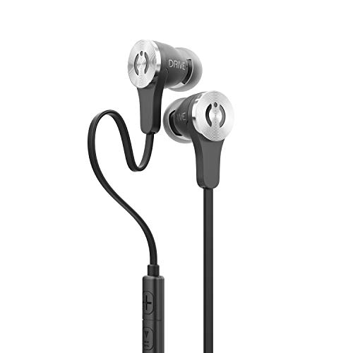 MuveAcoustics Drive Wired in-Ear Earbud Headphones - Noise Cancelling Premium Stereo Headphone Earbuds w/Mic, Ergonomic fit, Black