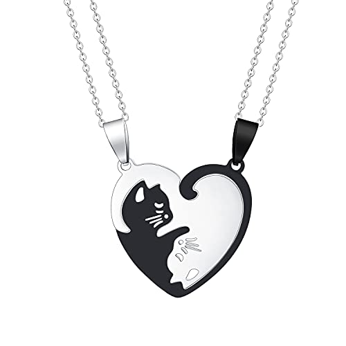 Hanreshe Cat Matching Necklaces Best Friend Necklaces Girls Fashion Couples Friendship Pendant Heart Yin Yang Friendship Necklace For 2