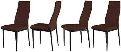 FOB Import Lot de 4 chaises Pulp Chocolat, Faux Cuir, 40x56x97 cm