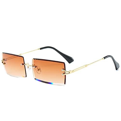 JIANCHEN Gafas de Sol Gafas de Sol Retro Damas de Moda Gafas de Sol de gradiente de Moda Lentes apagones Lentes para Mujer Vidrios sin llanta (Color : 3)