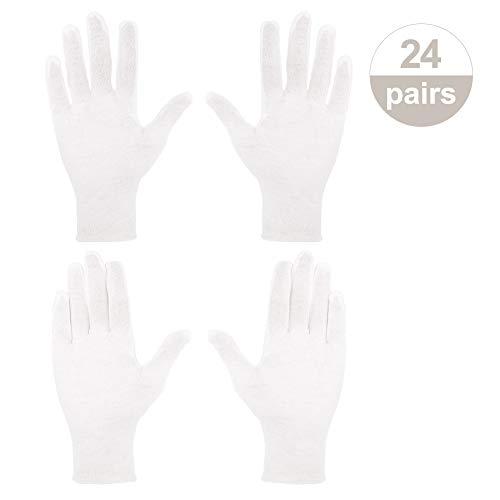umorismo Weiße Handschuhe Baumwolle, 24 Paar Pflege Baumwollhandschuhe Stoffhandschuhe Weiss Atmungsaktive Arbeitshandschuhe für Hautpflege
