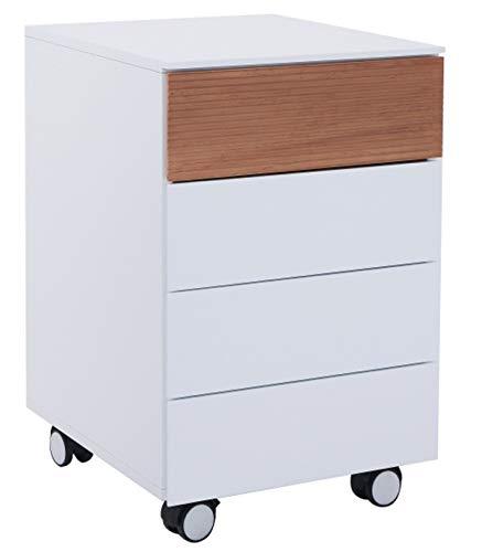 PEGANE Caisson en Bois Coloris Blanc avec tiroir chêne - Dim : 40 x 45 x 63 cm