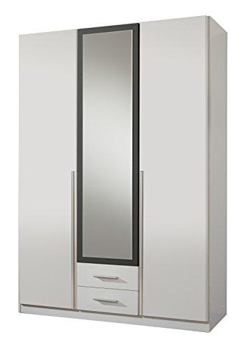 Wimex Kleiderschrank/ Drehtürenschrank Skate, 3 Türen, 2 Schubladen, 1 Spiegel, (B/H/T) 135 x 197 x 58 cm, Weiß/ Absetzung Anthrazit