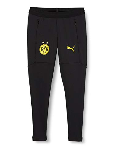 PUMA BVB Training Pant Pockets and w/Zip Legs JR Jogginghose, Black-Cyber Yellow, 152