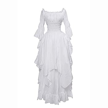 NSPSTT Victorian Dress Renaissance Costume Women Gothic Witch Dress Medieval Wedding Dress L/XL White
