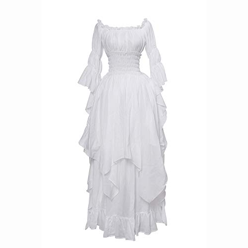 NSPSTT Victorian Dress Renaissance Costume Women Gothic Witch Dress Medieval Wedding Dress(L XL, White)