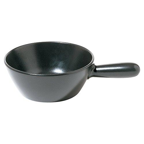 Alessi Mami Fondue Topf für Käse aus Keramik schwarz, Edelstahl, 24 cm