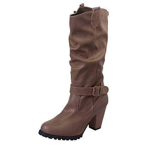 JURTEE Winter Damenschuhe Leder High Heel Stiefel Outdoor Gürtelschnalle Lässige Wasserdicht Stiefel