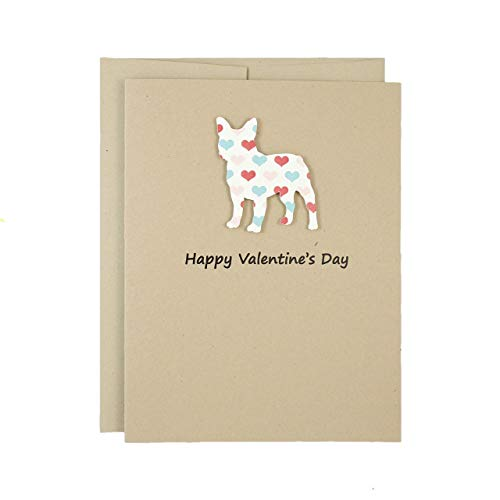 French Bulldog Valentines Day Greeting Card | Single or 10 Pack | Frenchie Handmade Valentine Cards | Choose Phrases