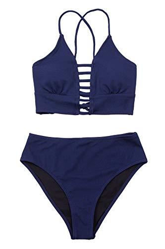 CUPSHE Conjunto de Bikini Estampado Floral Talle Medio Traje de Baño de Dos Pieza, XXL
