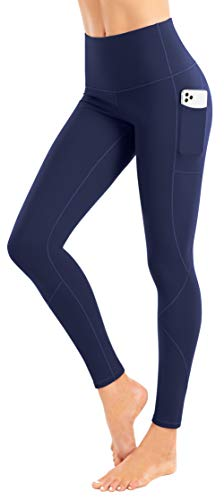 LIFE SKY Fleece Lined Yoga Pants with Pockets for Women, High Waist Tummy Control Winter Warm Tights, Thermal Running Leggings, Dark Blue M