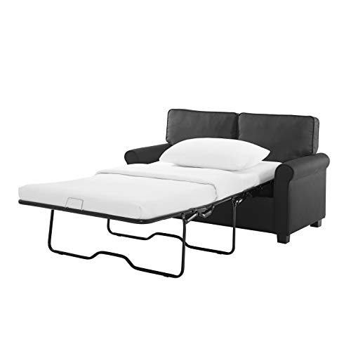 Modern Loveseat Sofa Sleeper with Memory Foam Mattress Easy Assembly (No-Tools Required) (Black)