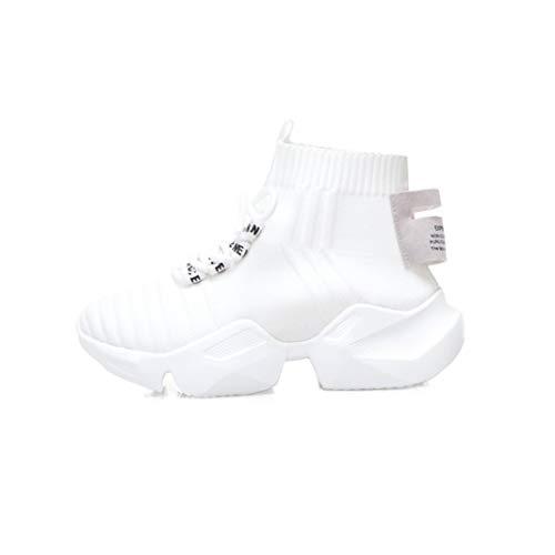 Herbst Frauen Chunky Sneakers High Top Schwarz Mesh Socke Schuhe Schnüren Damen Plattform Casual Stiefeletten Komfort Jogging Trainer