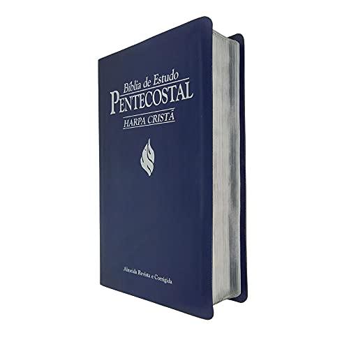 Bíblia de Estudo Pentecostal Media Luxo Azul com H