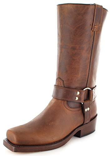 Buffalo Boots Unsex Biker Boots 1801 Brown Bikerstiefel Lederstiefel Braun 49 EU