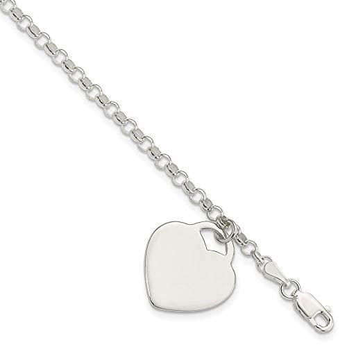 925 Sterling Silver Engraveable Heart Charm Bracelet 7.25 Inch Fine Jewelry For Women Gifts For Her