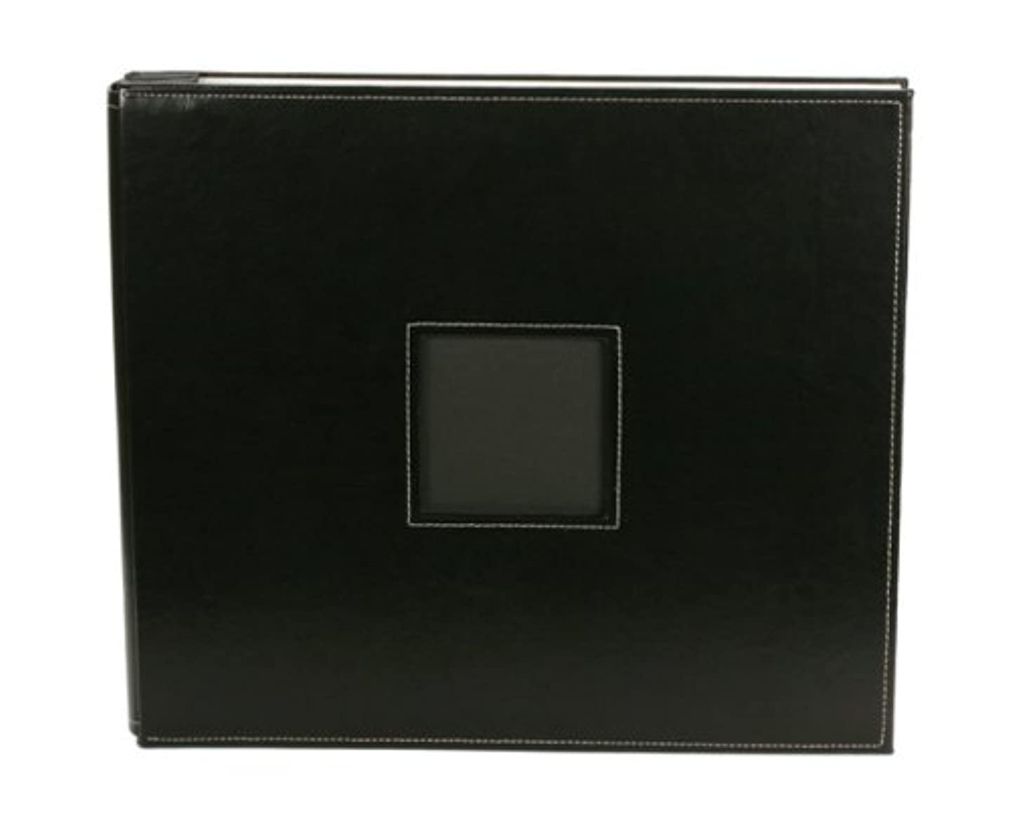 American Crafts 12-Inch by 12-Inch Post Bound Leather Scrapbooking Album, Black