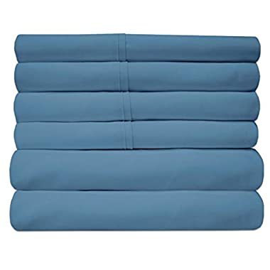 Sweet Home Collection 6 Piece 1500 Thread Count Brushed Microfiber Deep Pocket Sheet Set - 2 Extra Pillow Cases, Great Value,Queen,Denim