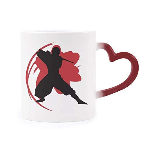 DIYthinker Bushido Samurai Katana Sakura Silueta Japón Morphing de Calor de la Taza Copa Sensible Corazón Rojo