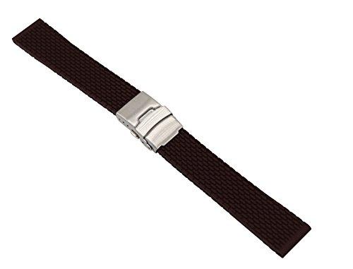 Questa gomma di sgancio rapido banda vigilanza del silicone in marrone va bene con il tuo orologio sportivo e mette in evidenza il vostro stile di vita moda personalizzata. Lunghezza: 19cm. Larghezza: 18mm Caratterizzato dal fatto di resistenza all'a...