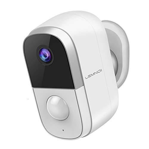Lemnoi Telecamera WIFI Esterno Batteria 1080p,Telecamera Senza Fili da Esterno,Visione Notturna, Rilevamento del Movimento PIR, Impermeabile IP65,Audio Bidirezionale