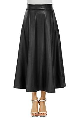 Zeagoo Women's Synthetic Leather High Waist Midi Long A-Line Swing Skater Skirt