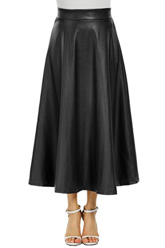 Zeagoo Women Winter PU Leather High Waist Midi Maxi Long A-line Skirt in Black Type 1 Large