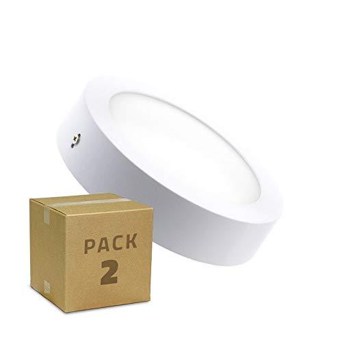 LEDKIA LIGHTING PACK Plafonnier LED Rond 18W (2 Un) Blanc Neutre 4000K - 4500K