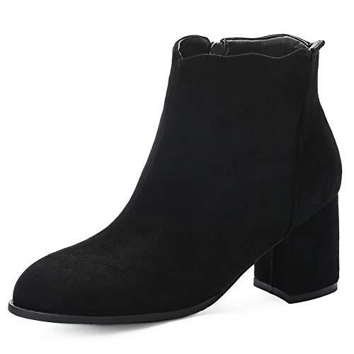 SheSole Damen Stiefeletten Chelsea Boots, Frauen Stiefel mit Absatz Schwarz Gr. 36