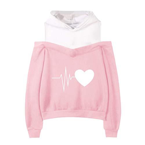 Sweatshirt Damen Frauen Schulterfrei Tumblr Pullover Kawaii Druck Hoodie Tops Bluse KIMODO Langarm Herbst Winter Kapuzenpullover Korean Fashion XS-XXL
