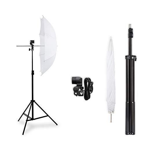 HochwerTiger HAUSER und PICARD 1x Durchlicht-Schirm Weiß + 1x Foto-Stativ | Foto-Schirm/Studio-Schirm/Studio-Licht - ohne Leuchtmittel