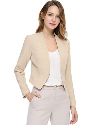Allegra K Damen Langarm Offen Asymmetrisch Crop Blazer Jacke Beige L
