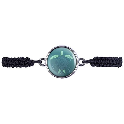 Mylery Armband mit Motiv Schildkröte Meer Wasser Silber 16mm