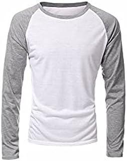 Wanxiaoyyyinnscx Long Sleeve Shirts, T-Shirts,Autumn Men's Long Sleeve T Shirt Patchwork O-neck Streetwear Casual Baseball...