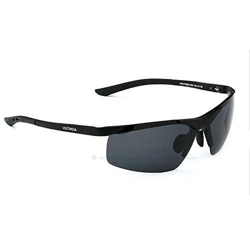 VEITHDIA hombre polarizada gafas de sol sin montura rectangular espejo de conducción deportiva para hombre gafas de sol para hombre 6501 negro negro