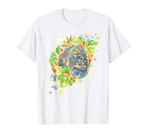 Affe Gorilla Aquarell gemalt abstrakt bunt Watercolor Tier T-Shirt