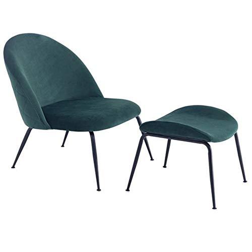Sillón Shamdon Home Collection con reposapiés, estilo retro, sillón de relax individual, sillón relax de tela resistente, patas de tubos de hierro fuertes, color verde oscuro